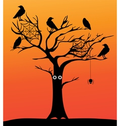 Spooky tree orange vector