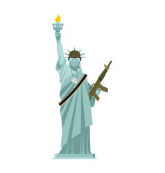 statue of liberty military helmet and weapon usa vector image vector image