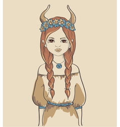 The astrological sign of taurus girl vector