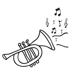 trumpet instrument with notes music icon vector image