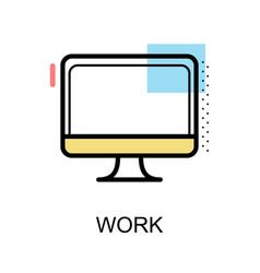 work icon with computer on white background vector image vector image