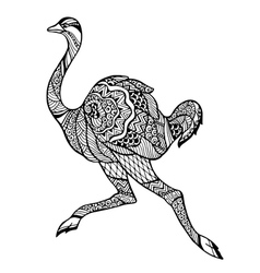 Zentangle stylized ostrich vector