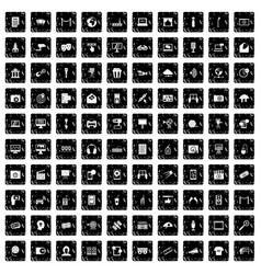 100 multimedia icons set grunge style vector