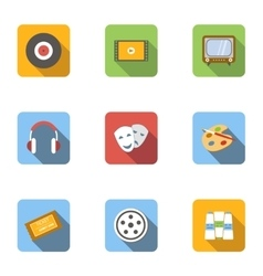 Kind of art icons set flat style vector image