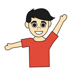 Colorful caricature half body boy with open arms vector