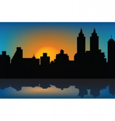 Sunset and skyscrapers vector