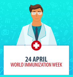 24 april world immunization week medical holiday vector