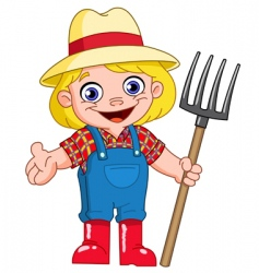 Young farmer vector