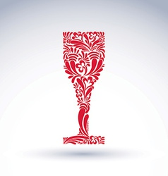 Creative goblet with floral ethnic pattern vector