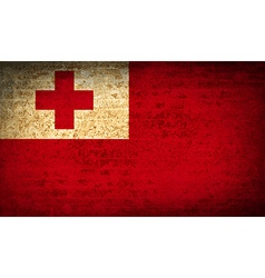 Flags tonga with dirty paper texture vector