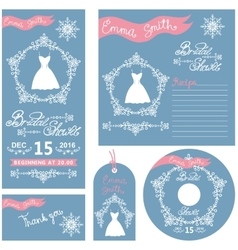 Wedding invitations setwinter bridal shower vector