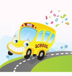 Yellow school bus on road vector