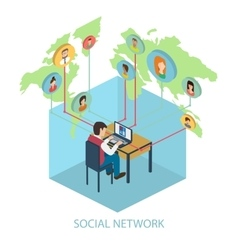 Social network on-line concept for web and vector
