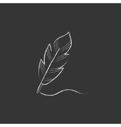 Feather Drawn in chalk icon vector image