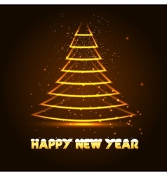 Happy new year with xmas tree vector