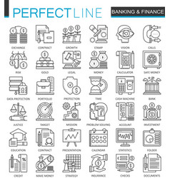 banking finance thin line web icons set money and vector image vector image