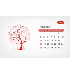 calendar 2012 november Art tree design vector image