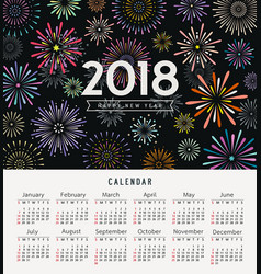 Calendar happy new year 2018 colorful fireworks vector