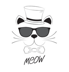 cat head in goggles and cap on a white background vector image vector image