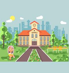 Child character schoolgirl vector
