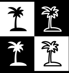 Coconut palm tree sign black and white vector