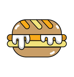 Delicious hamburger unhealthy fast food vector