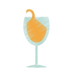 drawing glass cup champagne drink celebration vector image vector image