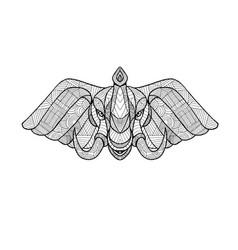 Elephant head front zentagle vector