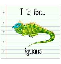 Flashcard letter i is for iguana vector