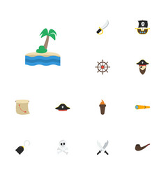 flat icons corsair treasure map vessel and other vector image