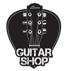 Guitar neck icon with guitar shop text vector