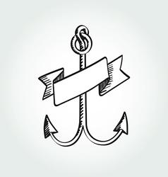 Hand Drawn Anchor with ribbon vector image