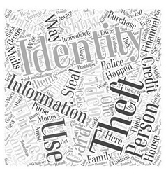 Identity theft video word cloud concept vector
