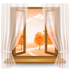 Nature autumn background with wooden window frame vector