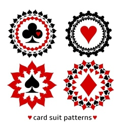 Nice card suit round patterns vector image