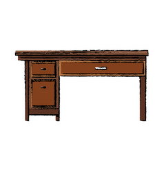 Office desk wooden drawer handle furniture vector