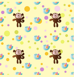 pattern with cartoon cute toy baby monkey vector image vector image