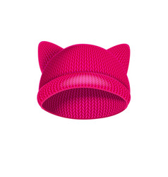 Pink knitted hat with cat ears vector