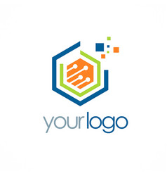Polygon data digital technology logo vector