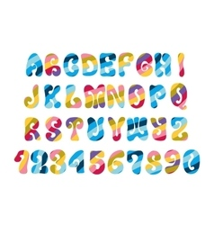 Psychedelic font with colorful pattern Vintage vector image