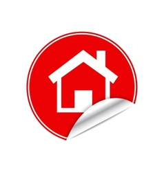 Red sticker home vector