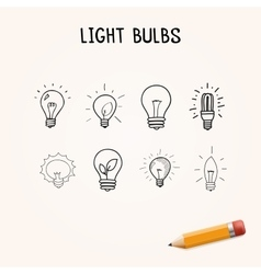 set of Hand-drawn light bulbs doodle icons vector image