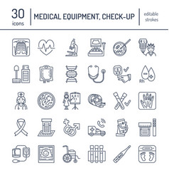 thin line icon of medical equipment vector image vector image