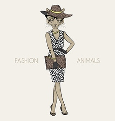 tigress dressed up in classy style vector image