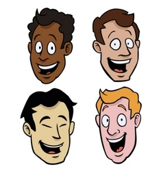 various male cartoon faces vector image vector image