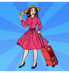 Woman with baggage pin up girl pop art vector
