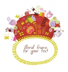 Stylized floral frame greeting card vector