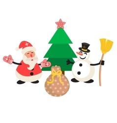Santa Claus and Snowman cartoon vector image