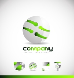 Green sphere 3d logo icon design vector