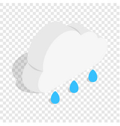 cloud with rain drops isometric icon vector image